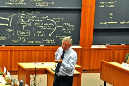 Photo by Anita Elberse. Sir Alex Ferguson, the manager of Manchester United and the topic of a recent Harvard Business School case by HBS Professor Anita Elberse, engaged with students in Aldrich Hall earlier this fall.