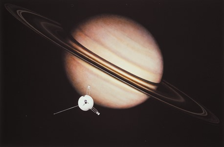 An artist's impression of the encounter between Pioneer 11 and Saturn. Image credit: NASA Ames