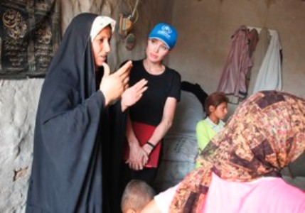 The actress Angelina Jolie at the campaign of UNHCR
