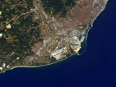 The Spanish city of Barcelona is pictured in this image captured on 13 September 2010 by Japan's ALOS satellite