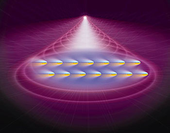 """This artist's conception shows atoms in a Bose-Einstein Condensate (BEC) being pushed by laser light. When the atoms, which all have the same magnetic spin orientation (represented by their blue and yellow """"poles""""), are pushed toward the viewer, they drift to the right because of their spin -- a result of the spin Hall effect, which has been observed in a BEC for the first time. Credit: Edwards/JQI"""