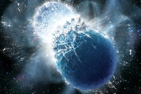 Credit: Dana Berry/SkyWorks Digital, Inc. This artist's conception shows two neutron stars at the moment of collision. All Earth's gold likely came from colliding neutron stars.