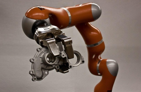 The NIST Dexterous Manipulation Testbed features a seven degree-of-freedom highly dexterous robot and a seven degree-of-freedom, three fingered robotic hand. The testbed is used to investigate new measurement science to gauge the operational characteristics of manipulation for manufacturing tasks.Credit: Falco/NIST