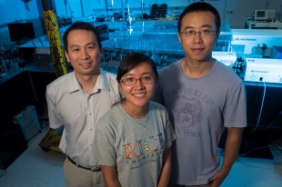 Rice University researchers -- from left, Professor Junrong Zheng, Yufan Zhang and Hailong Chen -- are challenging long-used standards by determining the three-dimensional shape of molecules by measuring the vibrations between their atoms.