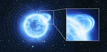 Artist impression of a magnetar with a 'magnetic loop'. This is the interpretation of data collected by ESA's XMM-Newton space telescope of the magnetar known as SGR 0418, which boasts one of the strongest magnetic fields in the Universe. In order to maintain such a strong magnetic field, the magnetar must have a twisted internal magnetic field, which manifests itself as a small region on the star's surface, somewhat similar to the localised magnetic fields anchored in sunspots on the Sun.