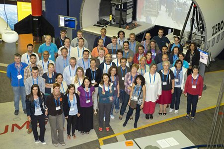 Participants and organisers of ESA's Summer Workshop for Teachers 2013 at ESTEC's Erasmus High-Bay.