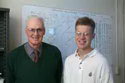 Dr. Phil Klotzbach (right)  has worked with Dr. Gray (left) on the seasonal hurricane forecasts since 2000 and is currently working as a research scientist in the Department of Atmospheric Science. He designed the United States Landfalling Hurricane Probability Webpage which has received over 500,000 hits since its inception on June 1, 2004. His research interests include seasonal hurricane prediction and causes of climate change. Credit: Colorado State University.