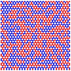 A map of the crystallites of ordered magnetic charges in honeycomb artificial spin ice. The red and blue dots correspond to vertices belonging to each of the two degenerate magnetic change-ordered states.