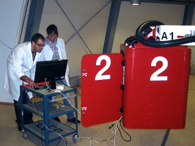The HyperMEA team, studying the electrical behaviour of maize roots under hypergravity, preparing to load ESA's Large Diameter Centrifuge during September 2011. Student teams are selected to take part in Spin your Thesis campaigns by experts from ESA's Directorate of Technical and Quality Management and Education Office as well as the European Low Gravity Research Association.