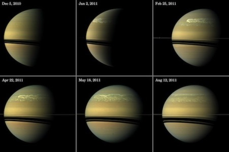 This series of images from NASA's Cassini spacecraft shows the development of the largest storm seen on the planet since 1990. These true-color and composite near-true-color views chronicle the storm from its start in late 2010 through mid-2011, showing how the distinct head of the storm quickly grew large but eventually became engulfed by the storm's tail.