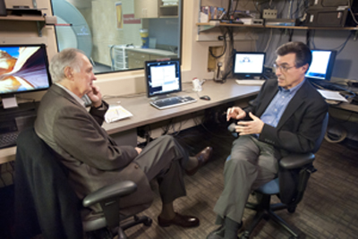 """Pictured above is Alan Alda (left) interviewing CMU's Marcel Just. """"I learned a shocking thing with Marcel because I really didn't understand the accuracy with which you can tell what letter a person is reading or what emotion a person is feeling by looking at the pattern of brain activity,"""" Alda said. """"It is just amazing that we're already at that point in brain science."""""""