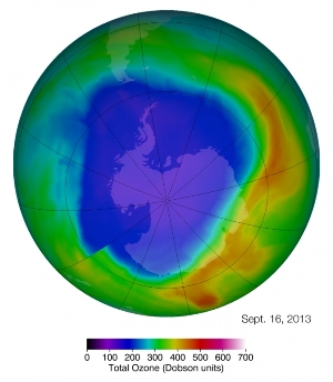The Antarctic ozone hole reached its maximum single-day area for 2013 on Sept. 16. The ozone hole (purple and blue) is the region over Antarctica with total ozone at or below 220 Dobson units (a common unit for measuring ozone concentration).Image Credit: NASA's Goddard Space Flight Center