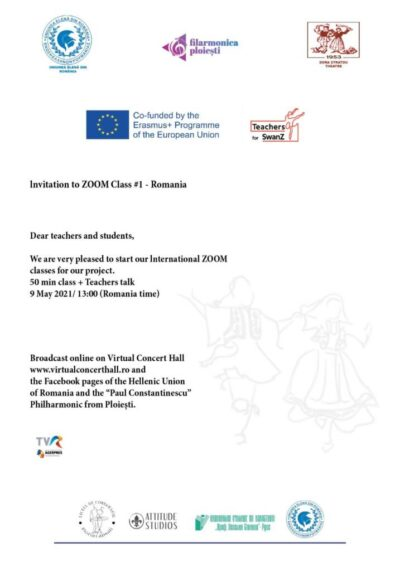 """The first international online course of the Erasmus project for the dance """"Teachers for SwanZ"""" is organized by the Union of Greeks of Romania on Sunday, May 9, 2021"""